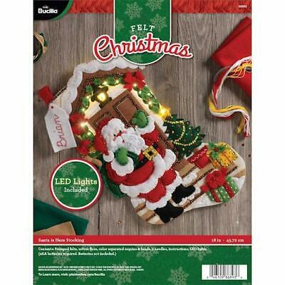 "Bucilla 18"" Felt Christmas Stocking Kit - Santa Is Here with LED Lights"