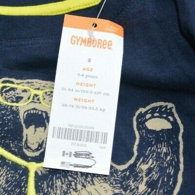 NWT GYMBOREE Navy Blue Grizzly Bear Long Sleeve Shirt Boys Size 8 MSRP $21.95