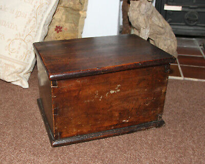 Antique Box 18th Century Georgian Oak heavy and solid - RARE FIND UNUSUAL HEAVY