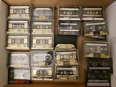 LOT OF 44: Vintage High Bias Type II Cassette Tapes Maxell XL II 90 & TDK SA 90