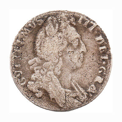 KM# 484 - Sixpence - William III - England - Great Britain 1696 (Poor)