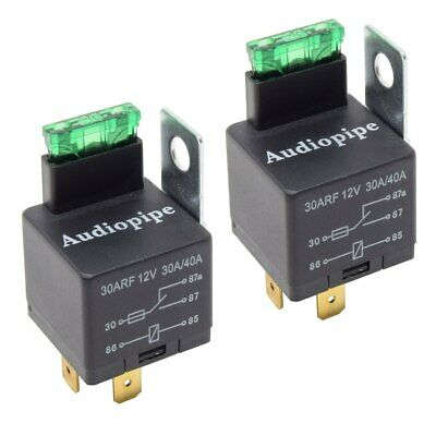 2-Pack 12V 5-Pin Relay with Built in Fuse 30A/40A Auto Metal Mounting Tab SPST