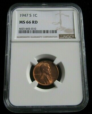 1947-S Uncirculated Lincoln Cent Certified NGC MS 66 RED