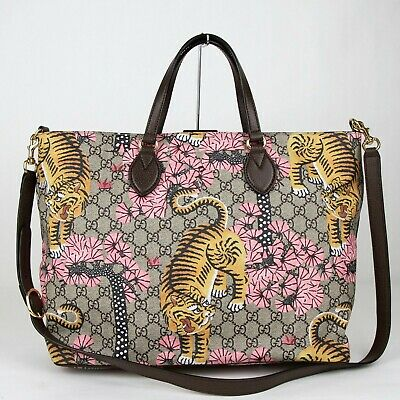 d5538cb1 Gucci Beige/Brown Bengal GG Supreme Large Tote Bag w/tiger Flower Print  458705