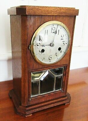 Edwardian Oak Mantel Clock by Gongschlag - Visible Pendulum for Spares or Repair