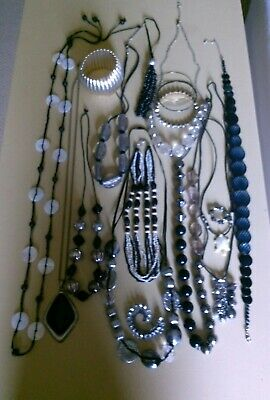 VINTAGE/COSTUME JEWELLERY BUNDLE necklaces bangles beads black white silver tone