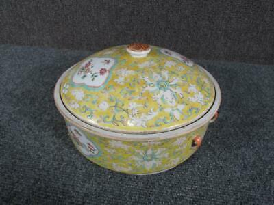 ANTIQUE or VINTAGE CHINESE YELLOW PORCELAIN  POT with LID, FLORAL DCORATION