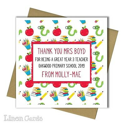 Personalised Thank You Teacher Card Nursery Class Teaching Assistant Card Gift.