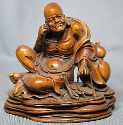 Exorcism Collectable Handwork Boxwood Carve Gourd Buddha Meditate Lucky Statue