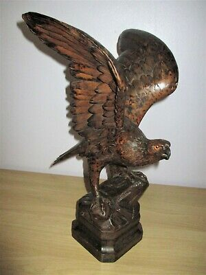 """Antique Large 15.5"""" Black Forest Eagle Pyrography Swiss Wood Carving Date 1906"""