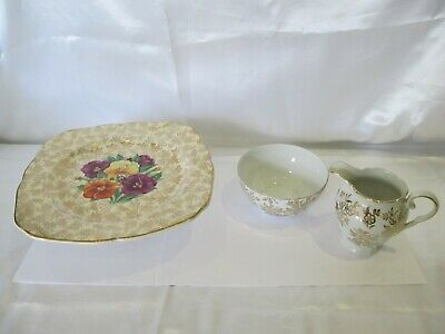 Vintage H K Tunstall Cake Plate On Stand Also Milk Jug & Sugar Bowl Shabby Chic