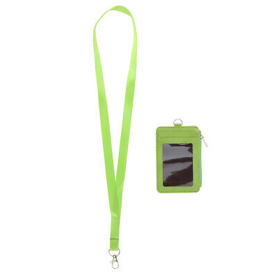 Vertical Business Zipper ID Badge Card Holder Name Tag with Neck Strap Green