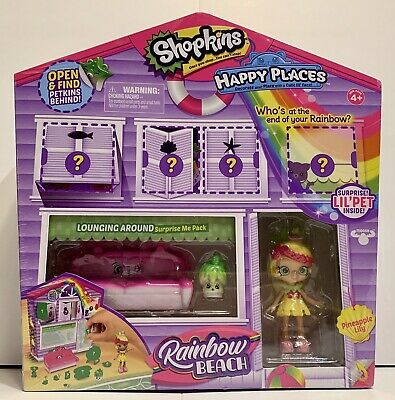 Shopkins Happy Places Rainbow Beach BBQ Party /& Lounging Around Surprise Me Pack