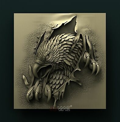 3d STL Model Relief for CNC Router _ Eagle _0002