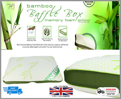 New Luxury Memory Foam Bamboo Box  Pillow Neck-Head-Back Support-Anti-Bacteria