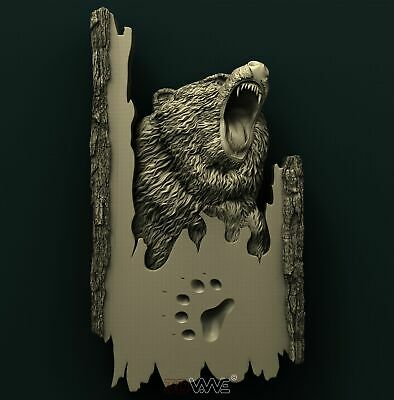 3d STL Model Relief for CNC Router _ Bear _0020