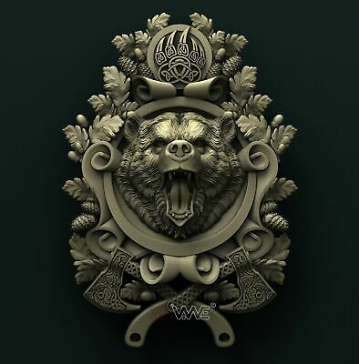 3d STL Model Relief for CNC Router _ Bear _0022