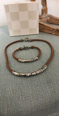 Ralph Lauren Bloomingdale's Necklace And Bracelet Tan Leather Bamboo Style