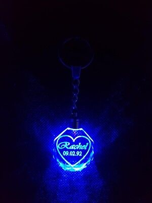 PERSONALISED KEYRING KEYCHAIN LED Name and Date Valentines Anniversary  Couples L