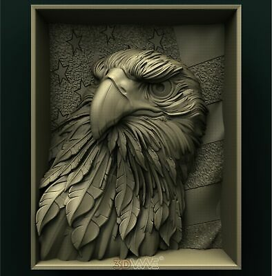 3d STL Model Relief for CNC Router _ Eagle _0029