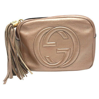 93d251b66 GUCCI SOHO DISCO Metallic Pink Leather Cross Body Bag - $699.00 ...