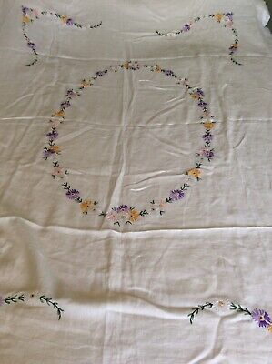 White Linen Tablecloth Hand Embroidered Floral Design Vintage 68x48