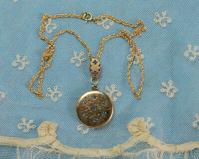 Antique Victorian Art Deco Locket Necklace Crystal Rhinestones Pendant 1900's