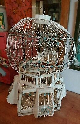 Antique Vintage French Wooden Original Bird Cage planter white decor salvage old