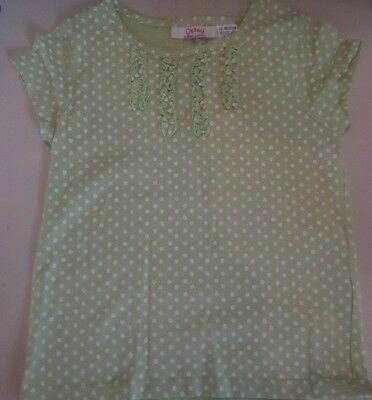 La Redoute Girls Green Polka Dot T-Shirt with frill detail  Age 4-5