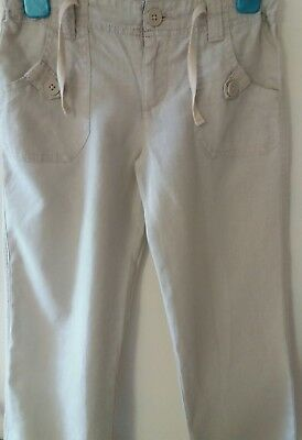 Marks and spencer Autograph girls linen mix beige trousers adjustable waist  6-7
