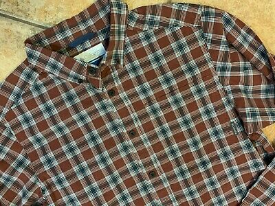 ee7bf5f4f47 Columbia Sportswear Burgundy Red Blue Plaid Button Down Shirt Long Sleeve  Mens S
