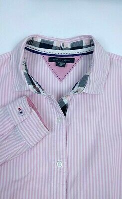 Tommy Hilfiger Womens Button Down Shirt Size Small Long Sleeve Pink Pinstripe