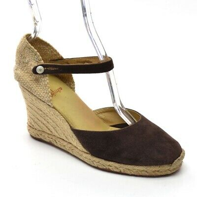 fac3ce158d8 CASTANER ESPADRILLE WEDGE HEELS Womens 37 / 6.5 Brown Suede SANDALS Shoes  Spain