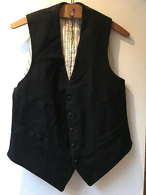 "Original Vintage Mens Black Wool waistcoat size 36"" Workwear Edwardian Lined"