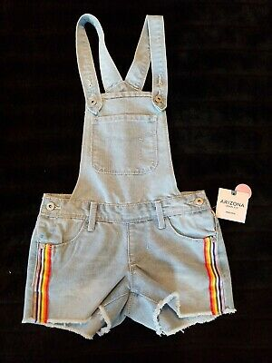 Arizona Jeans Youth Sz 6x reg youth Blue Denim Jean Bib Overalls Rainbow Sides