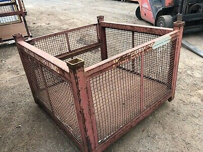 Stillage Steel Mesh drop Down fork liftable stackable transport cage storage