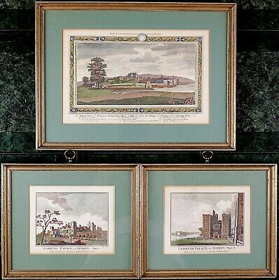 Framed Engraved Antique Prints, Included Lambeth Palace in Surrey Palate 1 and 2