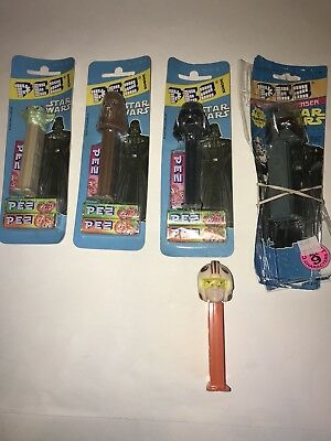 Vtg STAR WARS PEZ Candy BonBons Dispensers LOT Yoda Chewy Darth Sealed