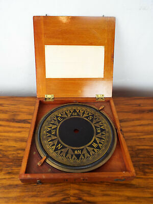 """Vintage 1920s 30s Nautical Brass 10"""" Ring Compass Binnacle Face Wooden Cased"""