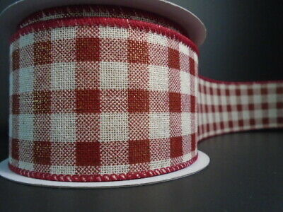 "Christmas Buffalo Plaid Wire Ribbon 2.5"" Country*Farmhouse*Cabin*Rural*2 LENGTHS"
