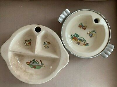 2 x Excello Baby Warmer Plates Divided Ceramic Metal APR 1948