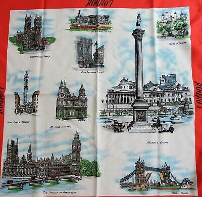 Retro cool *Made in Italy* VINTAGE LONDON SOUVENIR SCARF SQUARE