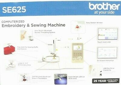 Brand New Sealed Brother SE625 Computerized Sewing and Embroidery Machine