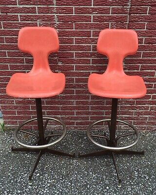 Vintage Mod Retro Orange Shell Bar Stools ~Joal Mfg. Funky Chairs~Cool chairs