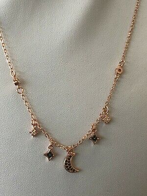 b76274f6c Duo Rose Gold O/Sterling Moon and Stars Necklaces Made With Swarovski  Elements