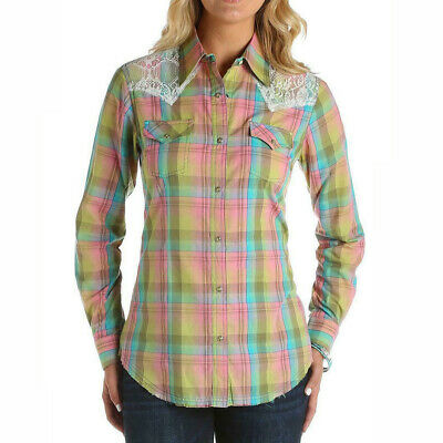 WRANGLER Women's Long Sleeve Plaid & Lace Snap Shirt • LW6521M • Sold Out • NWT