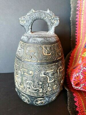 Old Chinese Chang Dynasty Style Cast Bell  …beautiful display & accent piece