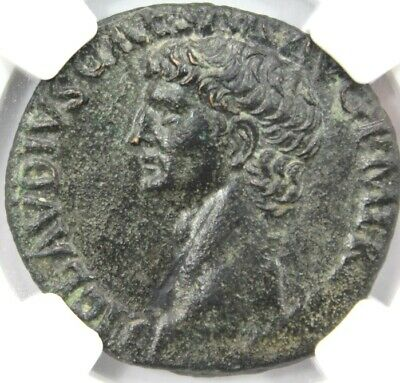 ROMAN EMPIRE Claudius AD 41-54, AE, rv, Minerva advancing NGC Ch AU, 4/5, 3/5