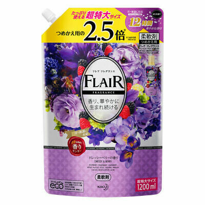 Kao Japan FLAIR FRAGRANCE Laundry Fabric Softener Dressy & Berry 1200ml Refill