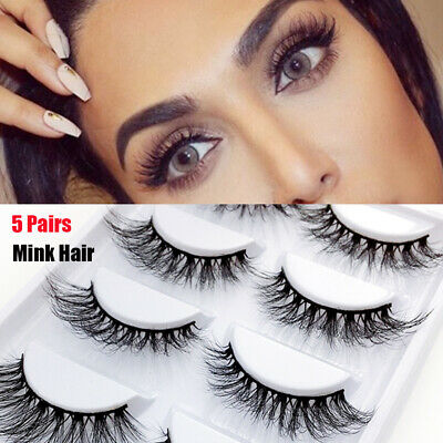 946a6147603 SKONHED 5 Pairs 3D 100% Real Mink Hair False Eyelashes Wispy Fluffy Long  Lashes/